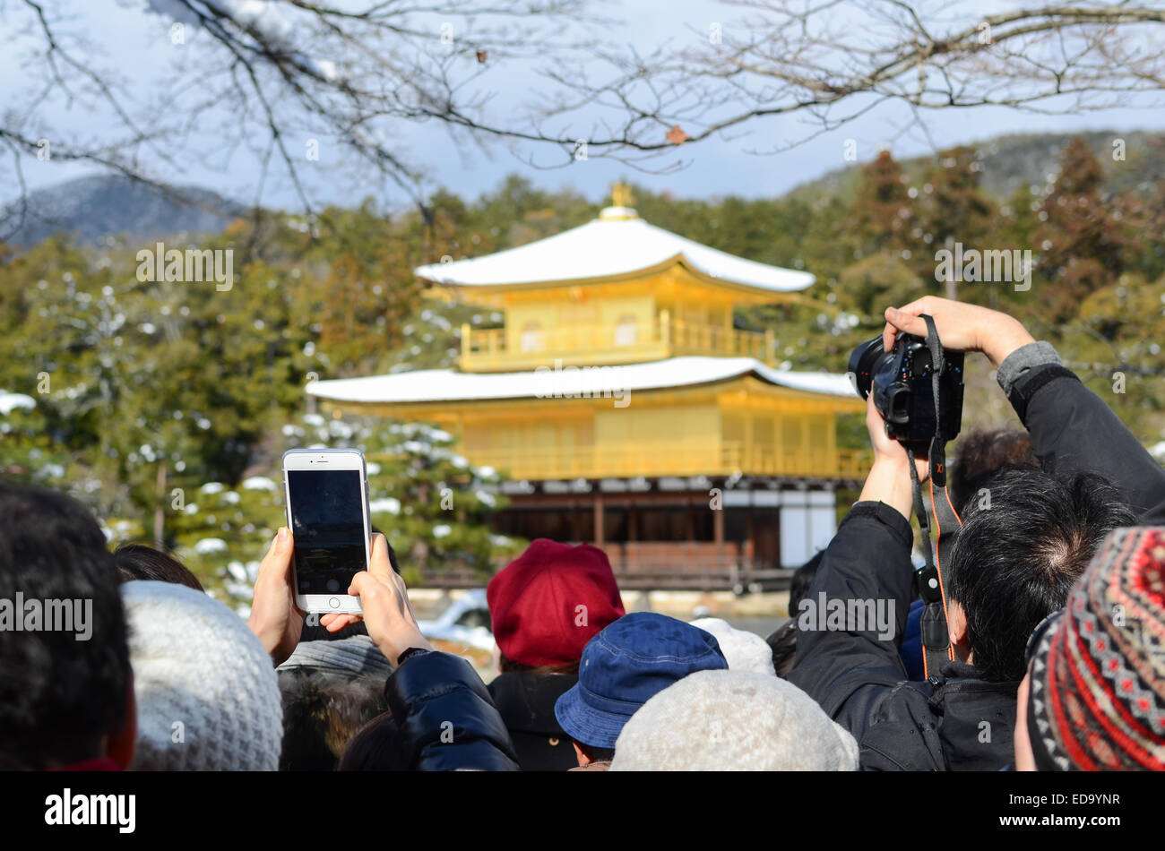 Tourists at Kinkakuji (Golden Temple / Golden Pavilion) in Kyoto, Japan. - Stock Image