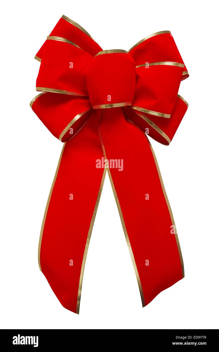 Red Velvet Bow Red Velvet Bow with gold trim - Stock Image