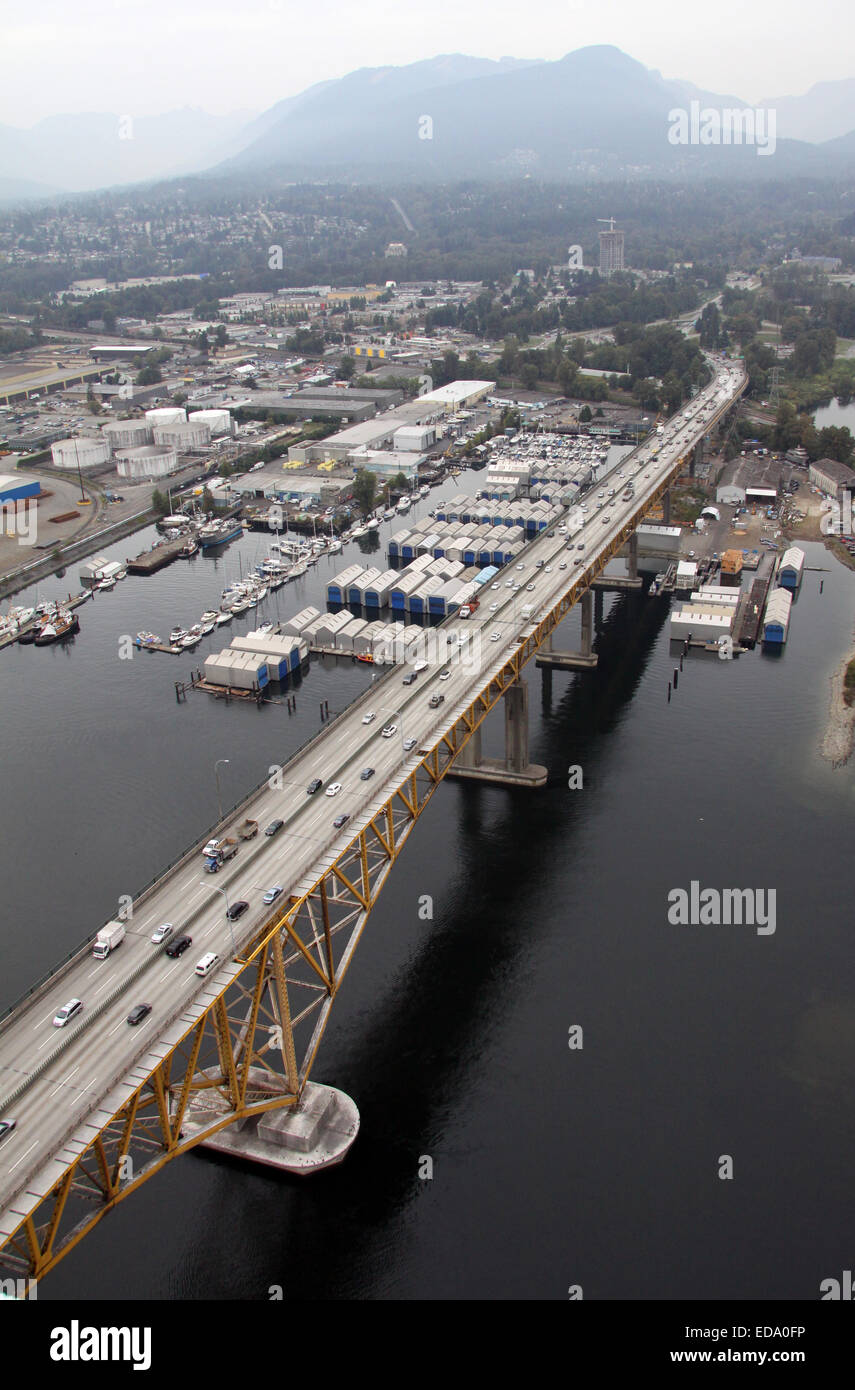 aerial view of the Iron Workers Memorial Bridge at the Seymour River in Vancouver, Canada - Stock Image