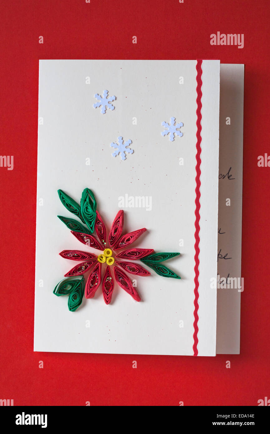 Paper Quilling On Handcrafted Christmas Card Isolated On Red Stock