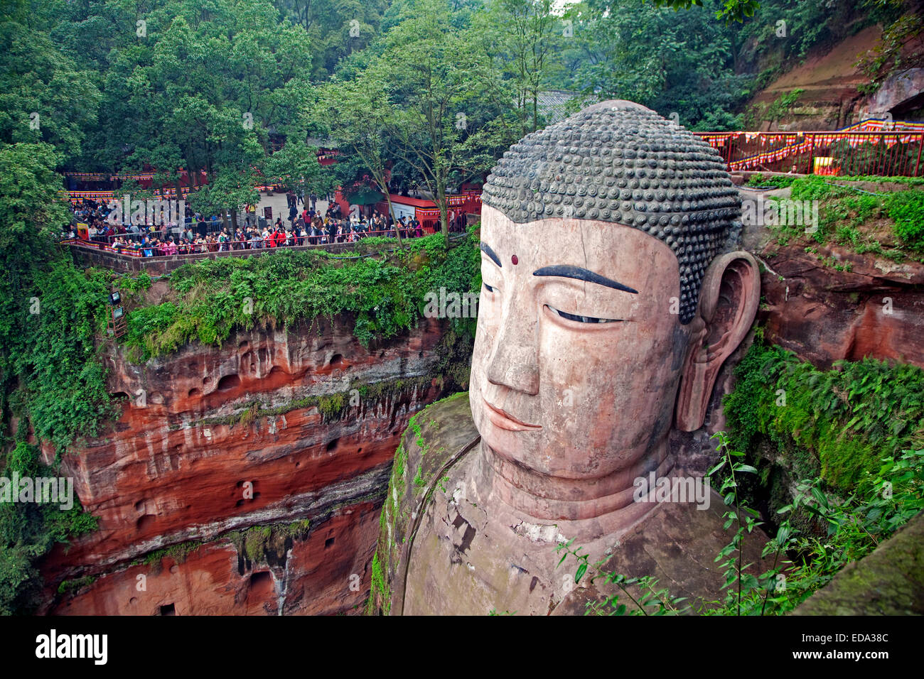 The Leshan Giant Buddha, largest stone-carved Buddha statue in the world from the Tang Dynasty, Sichuan province, China Stock Photo