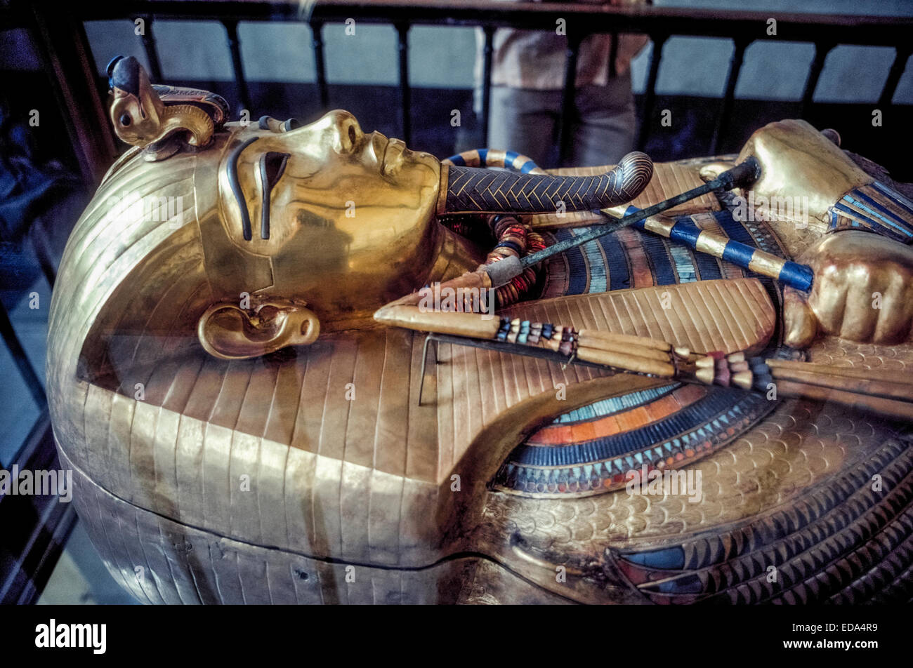 The sarcophagus (coffin) of the famed pharaoh Tutankhamun (King Tut) is on display at the Museum of Egyptian Antiquities - Stock Image