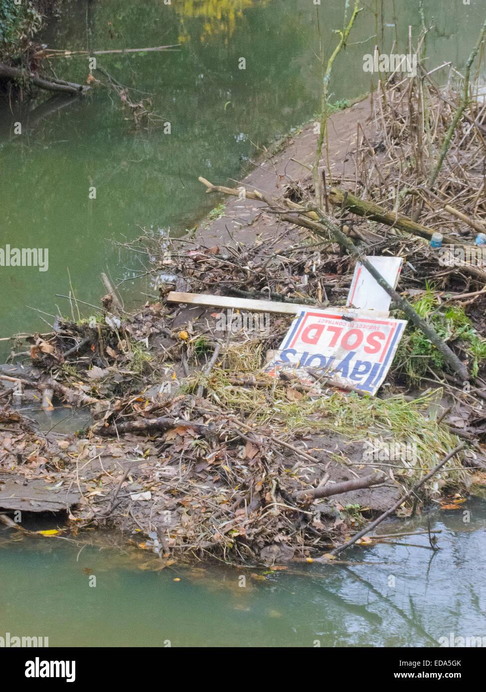 Rubbish Blocking the River Stour, Prestwood, Staffordshire, England, UK - Stock Image