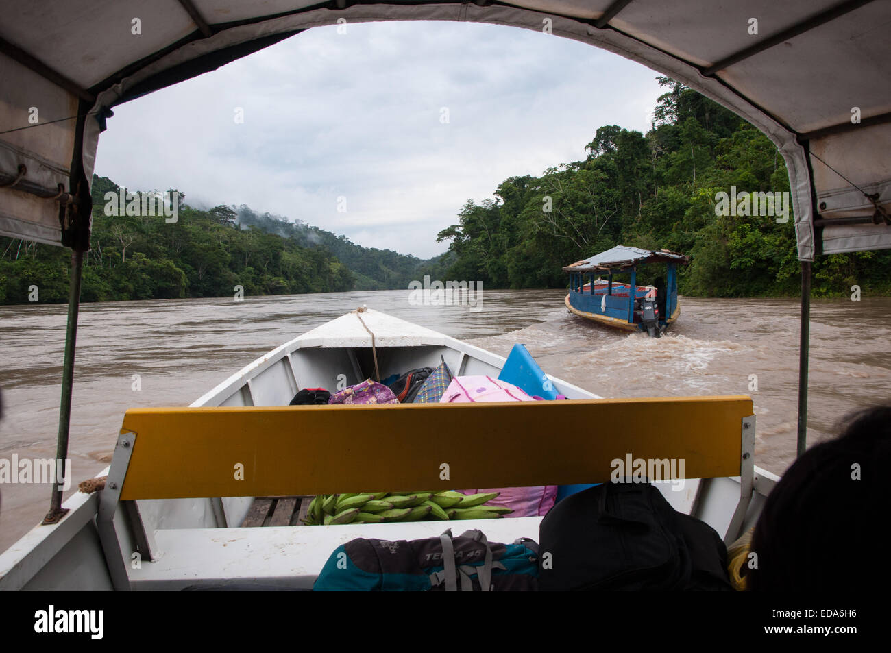 Travel by Chalupa boat through Amazonian River of Peru in Rainy Season - Stock Image