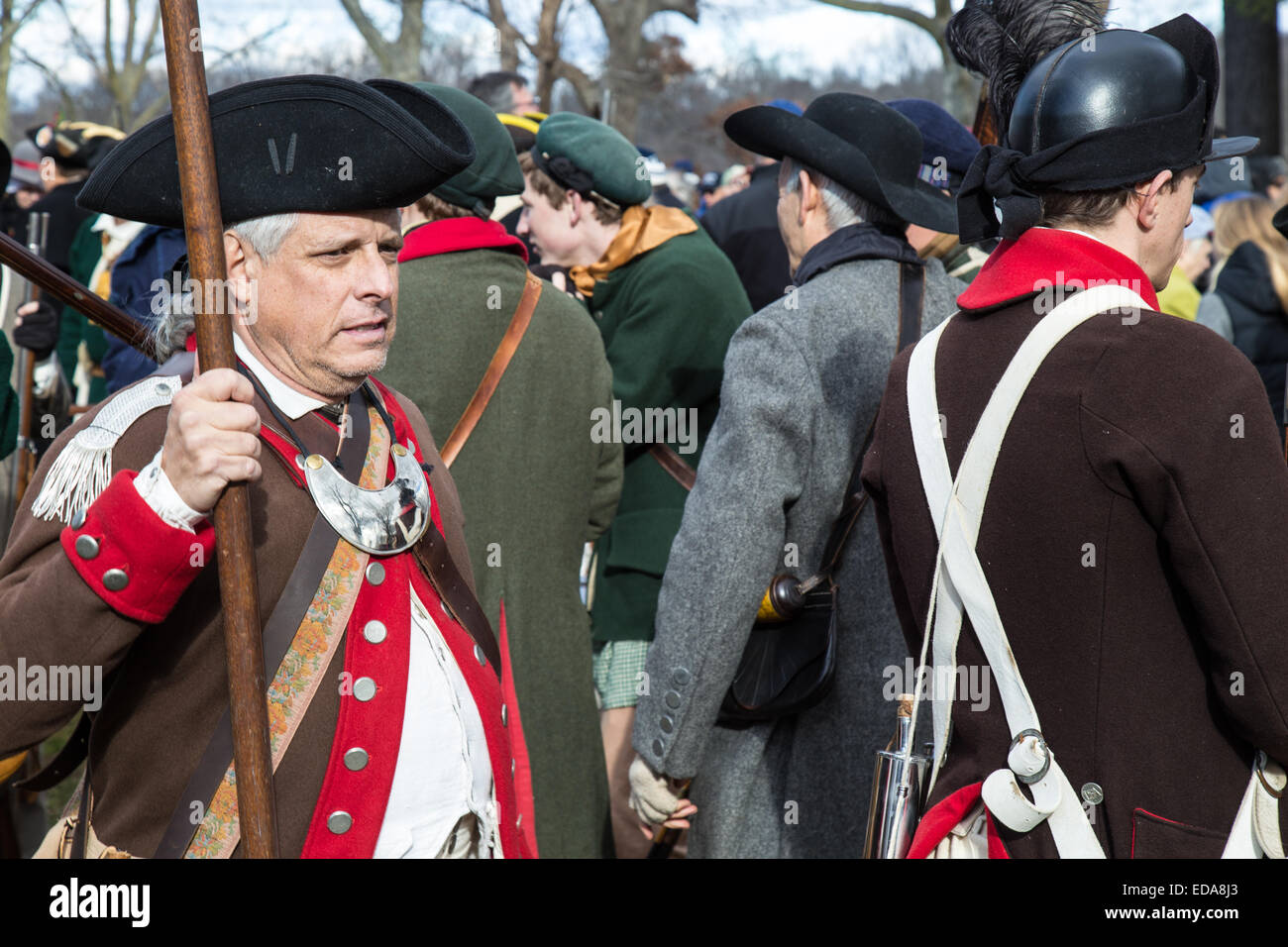 Reenactors at the annual General George Washington crossing the Delaware River from Pennsylvania into New Jersey on Christmas Da Stock Photo