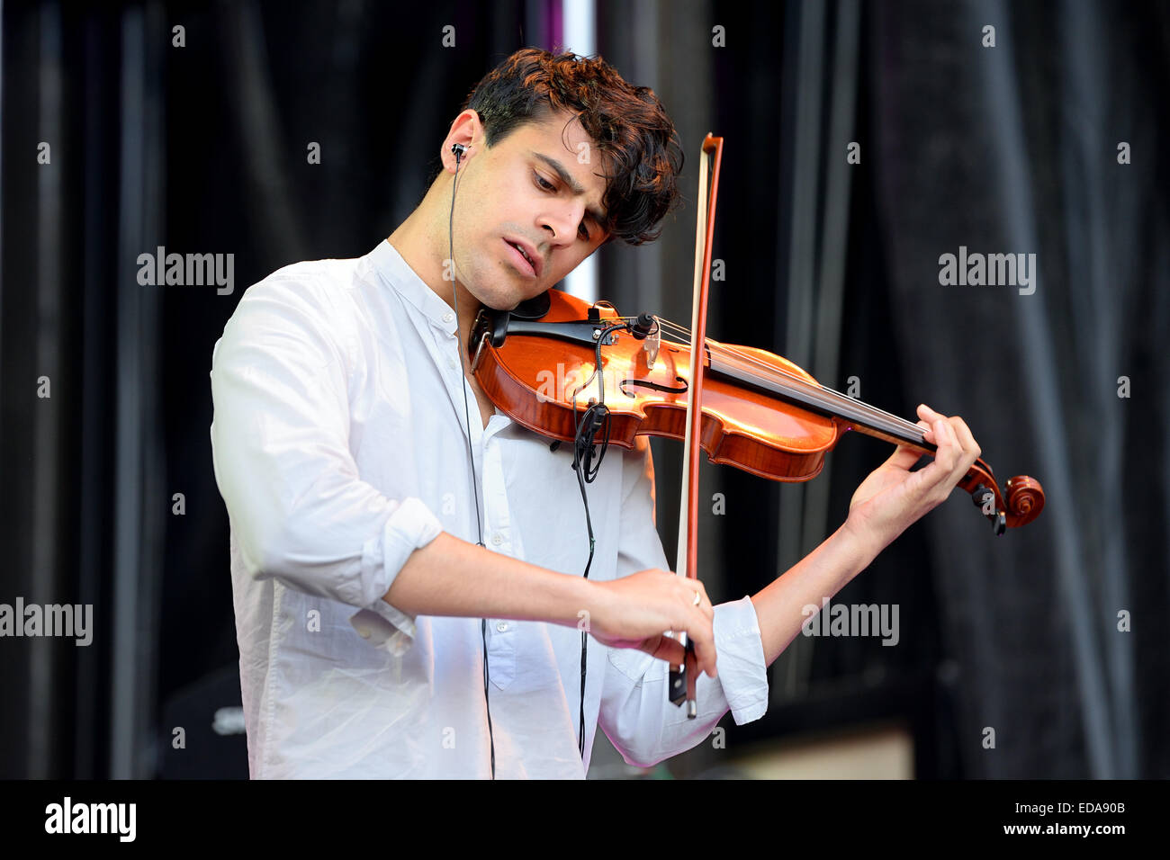 BARCELONA - MAY 23: Violinist of Clean Bandit (British electronic group) at Primavera Pop Festival by Los 40 Principales. - Stock Image