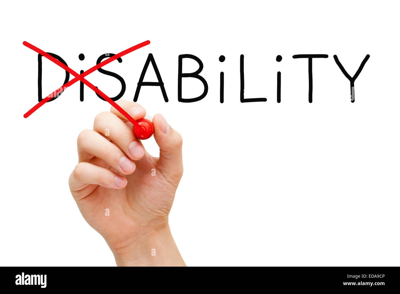 Hand turning the word Disability into Ability with red marker isolated on white. - Stock Image
