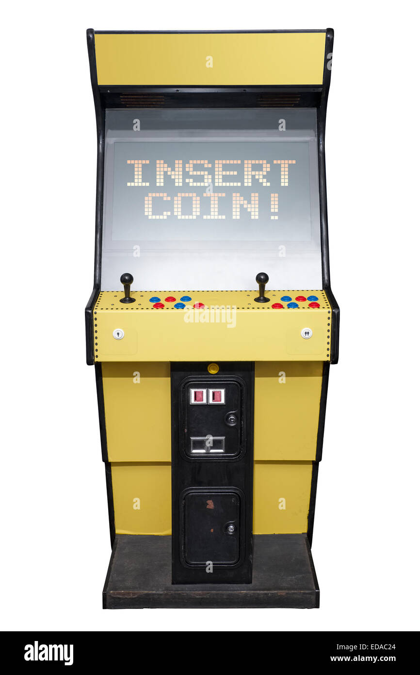 Vintage video game with Insert Coin screen isolated on white - Stock Image