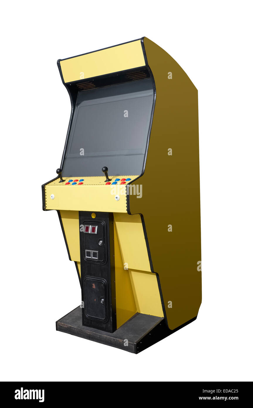Vintage arcade video game isolated on white - Stock Image