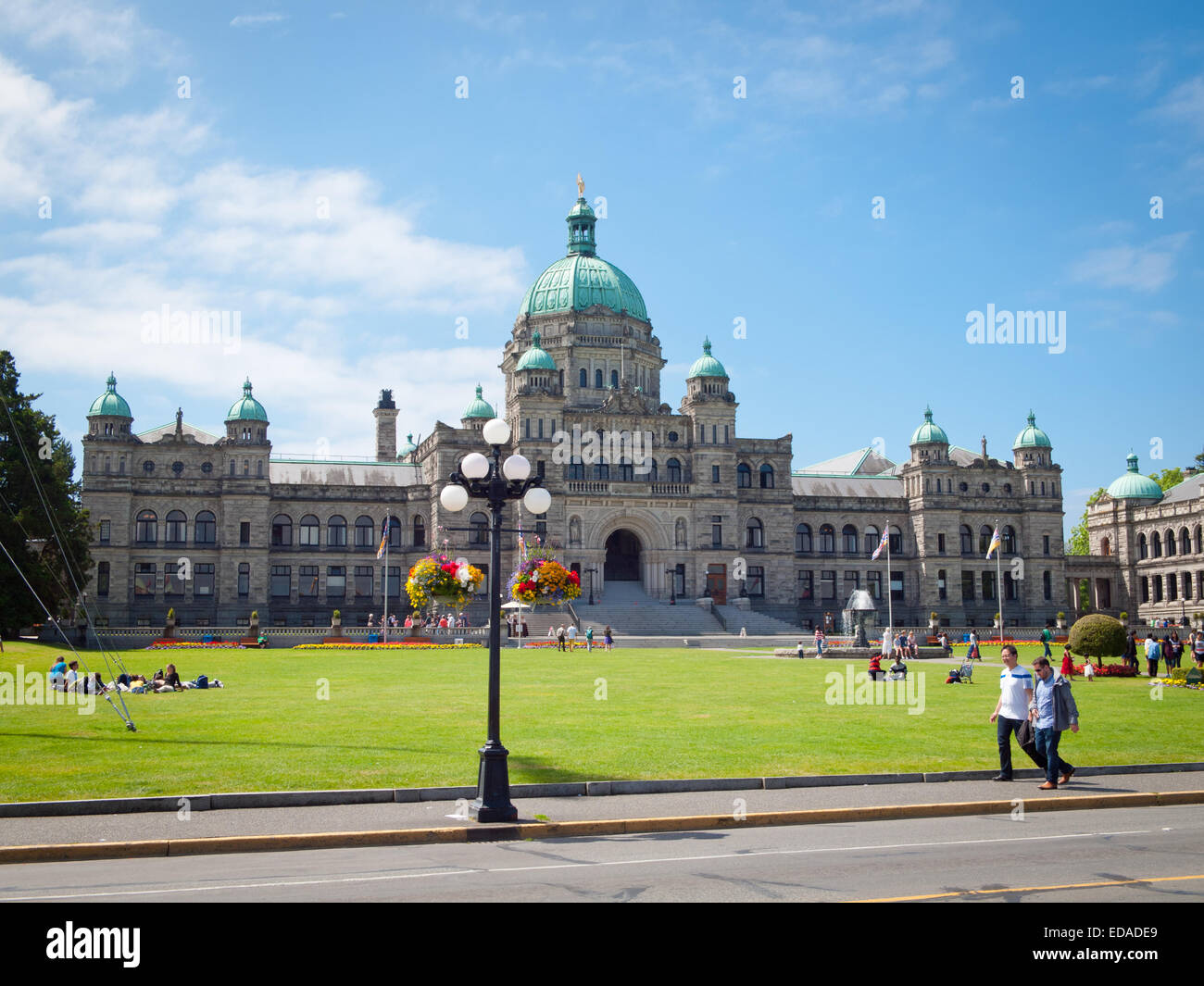 A view of the British Columbia Parliament Buildings on a beautiful, summer morning.  Victoria, British Columbia, - Stock Image