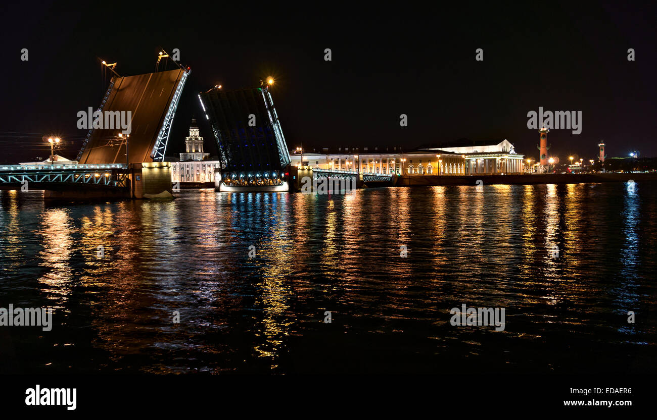 Night view of Palace Bridge in Saint-Petersburg, Russia - Stock Image