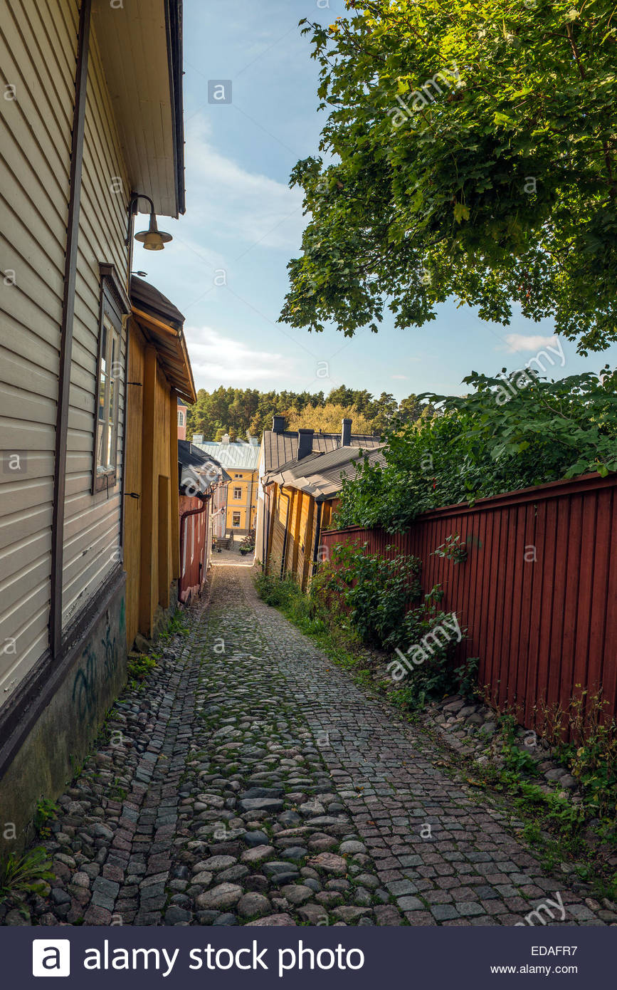 Porvoo is one of the six medieval towns in Finland. It is Finland's second oldest town, a beautiful city full - Stock Image