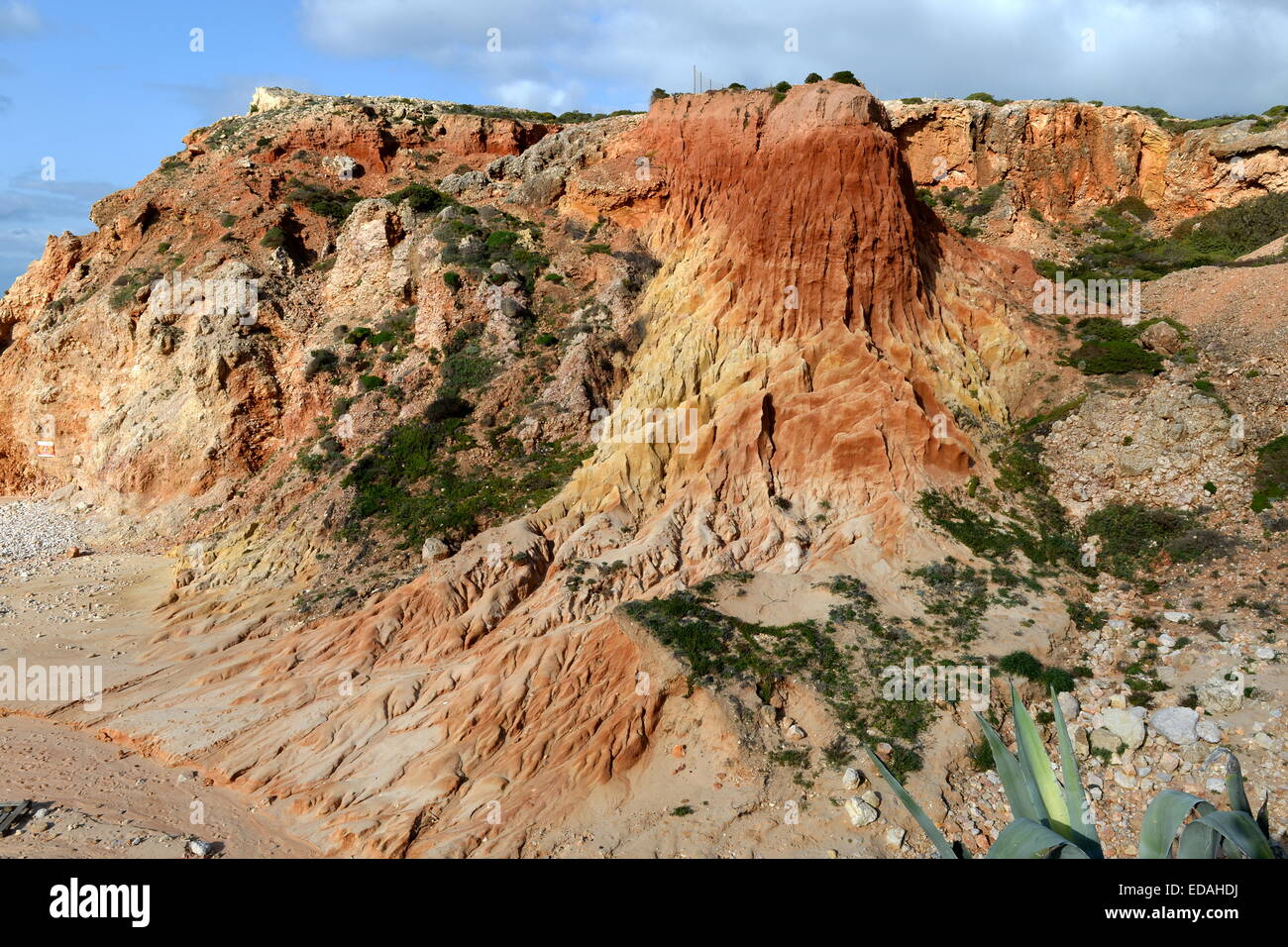 multi-colored  fluvial deposits  have been sculpted by the rain  at Tonel Beach, Algarve ,Portugal - Stock Image