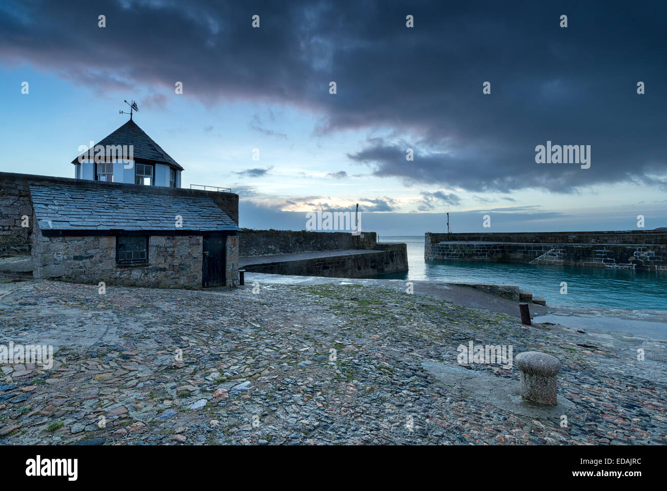 The picturesque harbour of Charlestown on the south coast of Cornwall - Stock Image