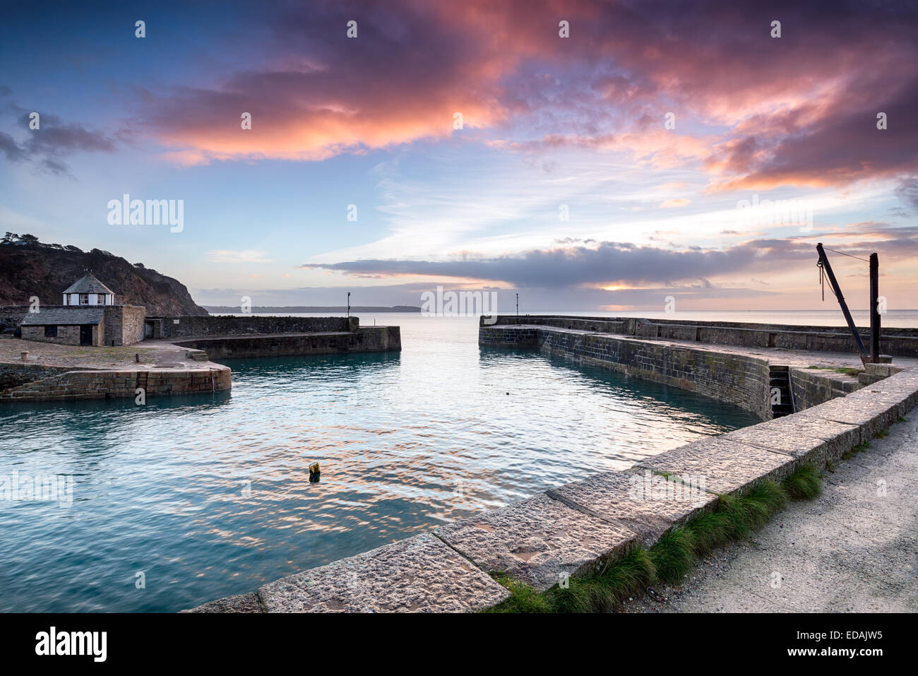 Charlestown harbour in Cornwall - Stock Image