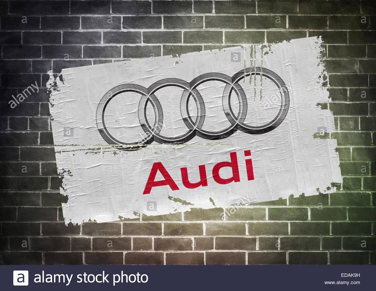 Audi logo icon poster - Stock Image