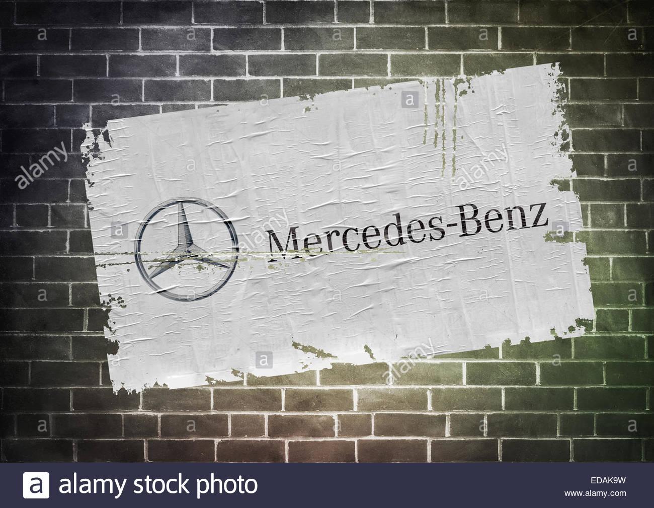Mercedes logo icon poster - Stock Image