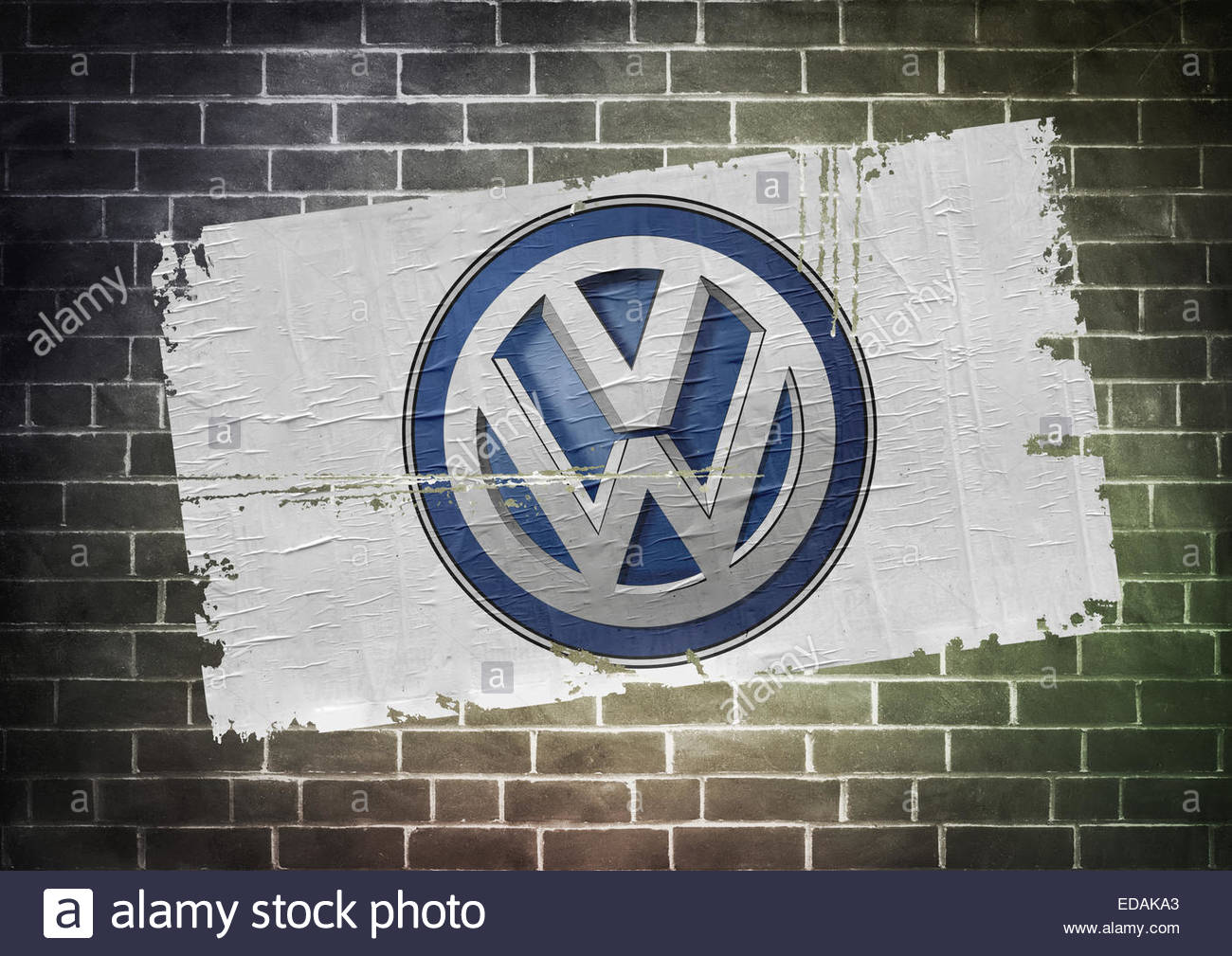 VW Volkswagen logo icon poster - Stock Image
