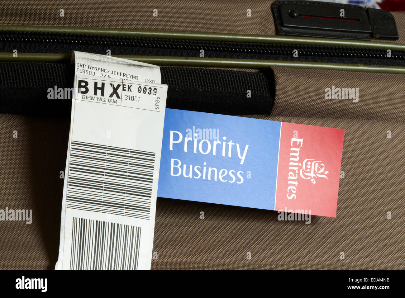 Priority Tag: Emirates Priority Business Class Luggage Tag On A Suitcase