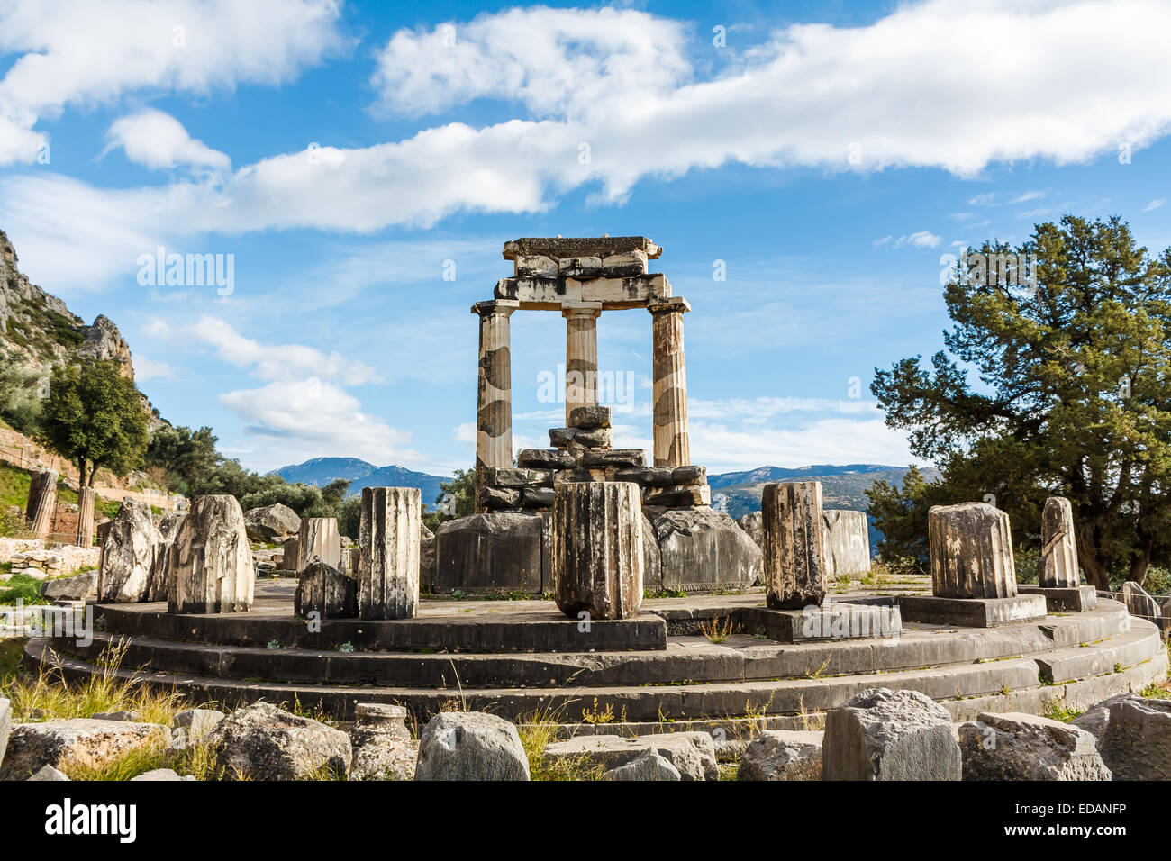 Delphi, Ancient Greece, Athena Pronaia Sanctuary Stock Photo