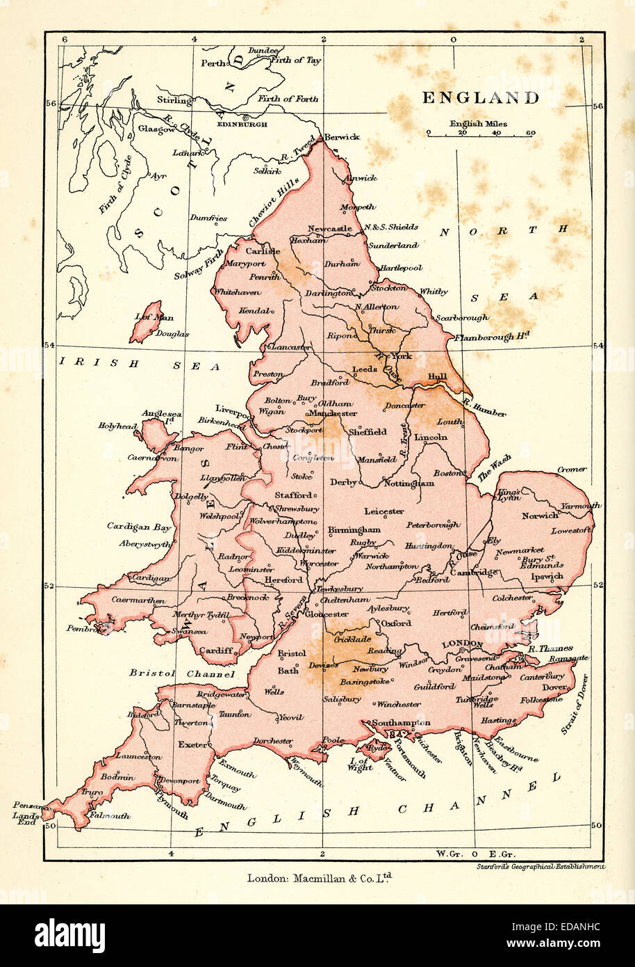 Antique map of England and Wales, 1900 - Stock Image