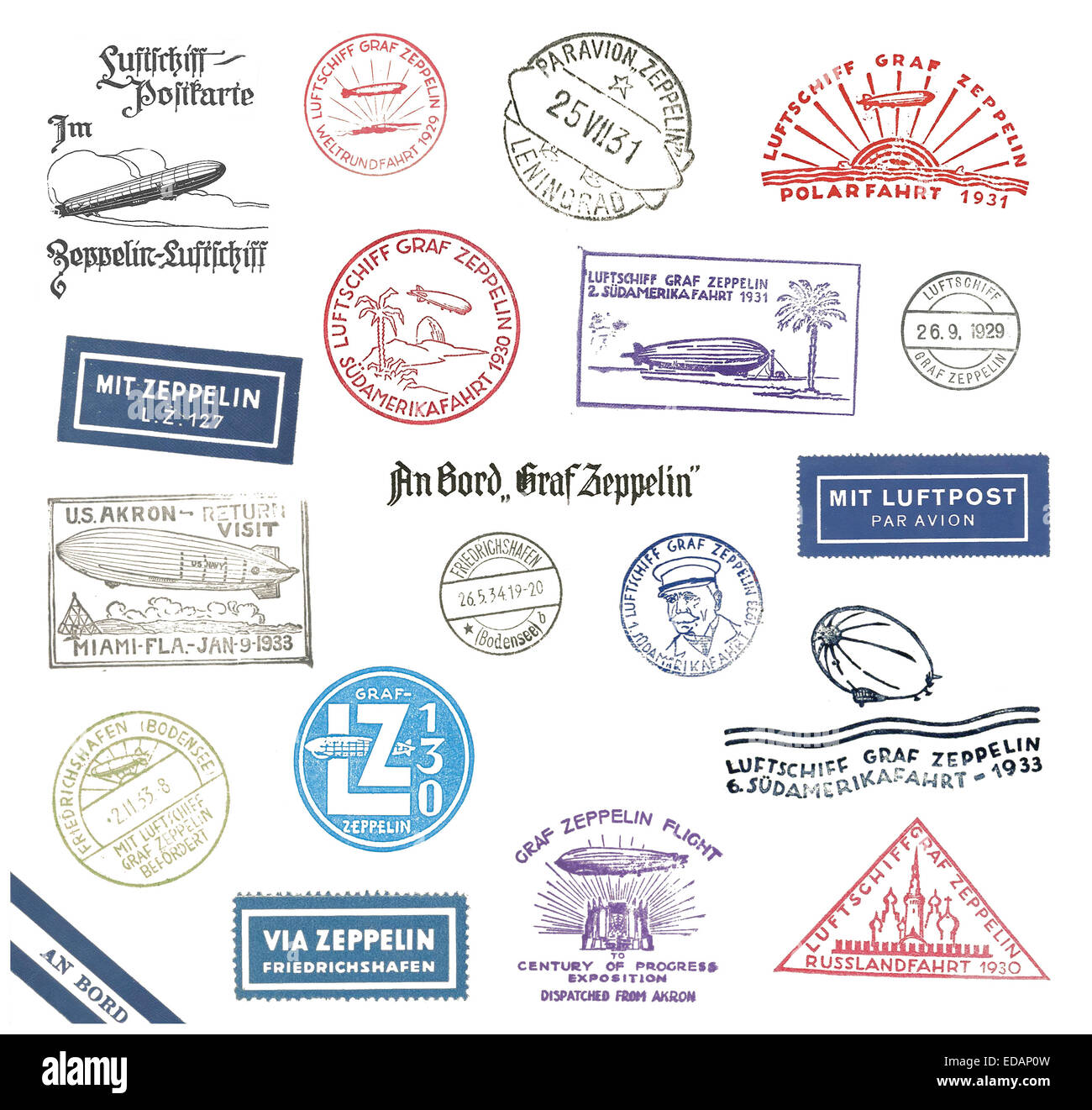 Historic Zeppelin stamps and airmail labels  from Germany - Stock Image