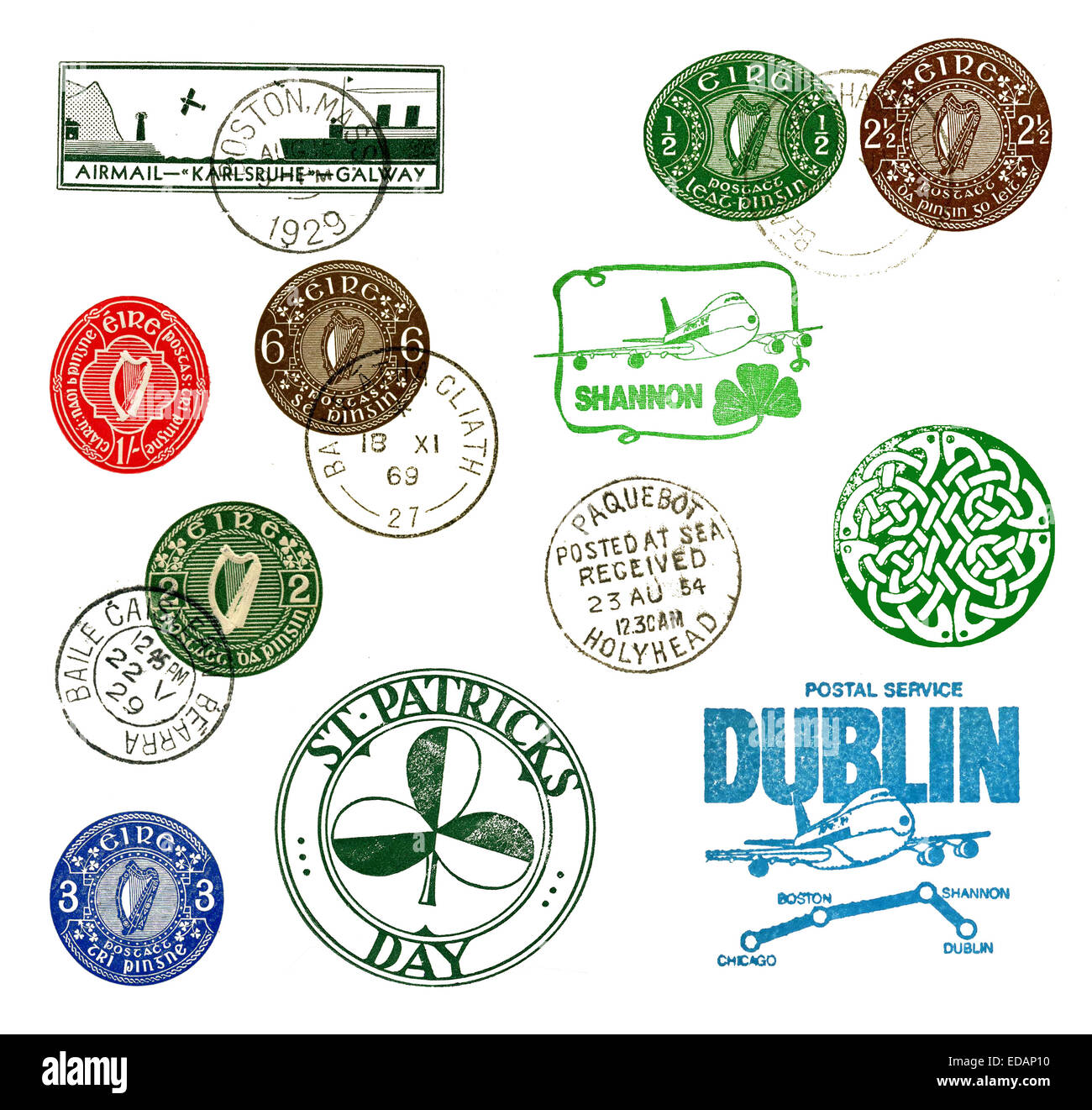 Postage stamps and labels from Ireland, mostly vintage - Stock Image