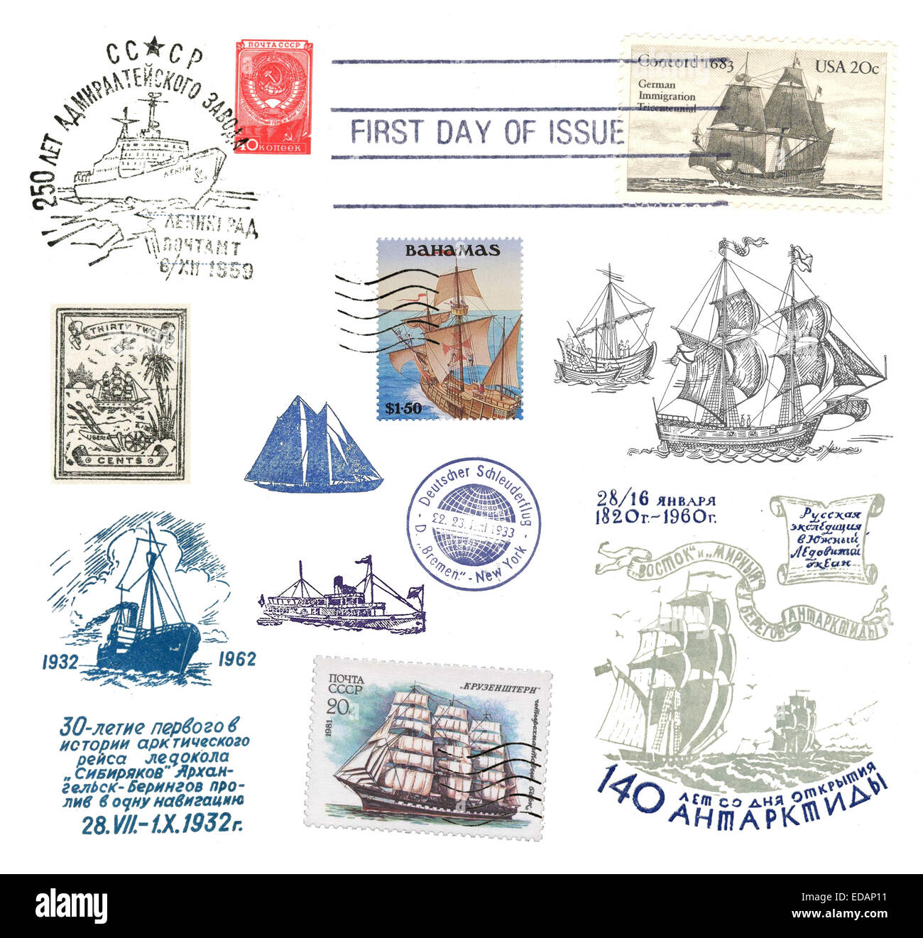 Stamps and postmarks ship post from various countries - Stock Image