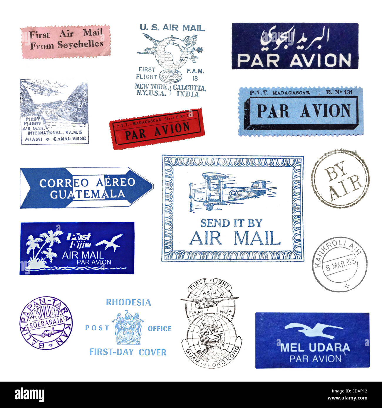 Vintage postage stamps and airmail labels from all over the world - Stock Image