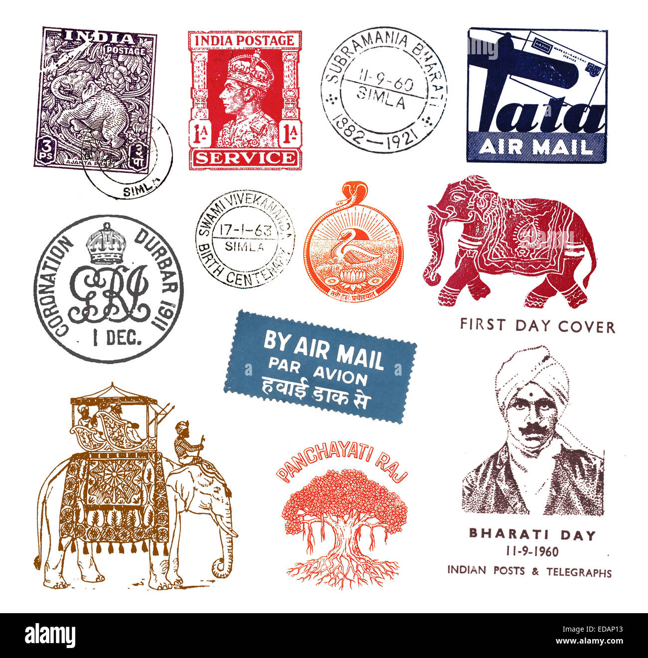 Postage stamps and labels from India, mostly vintage - Stock Image