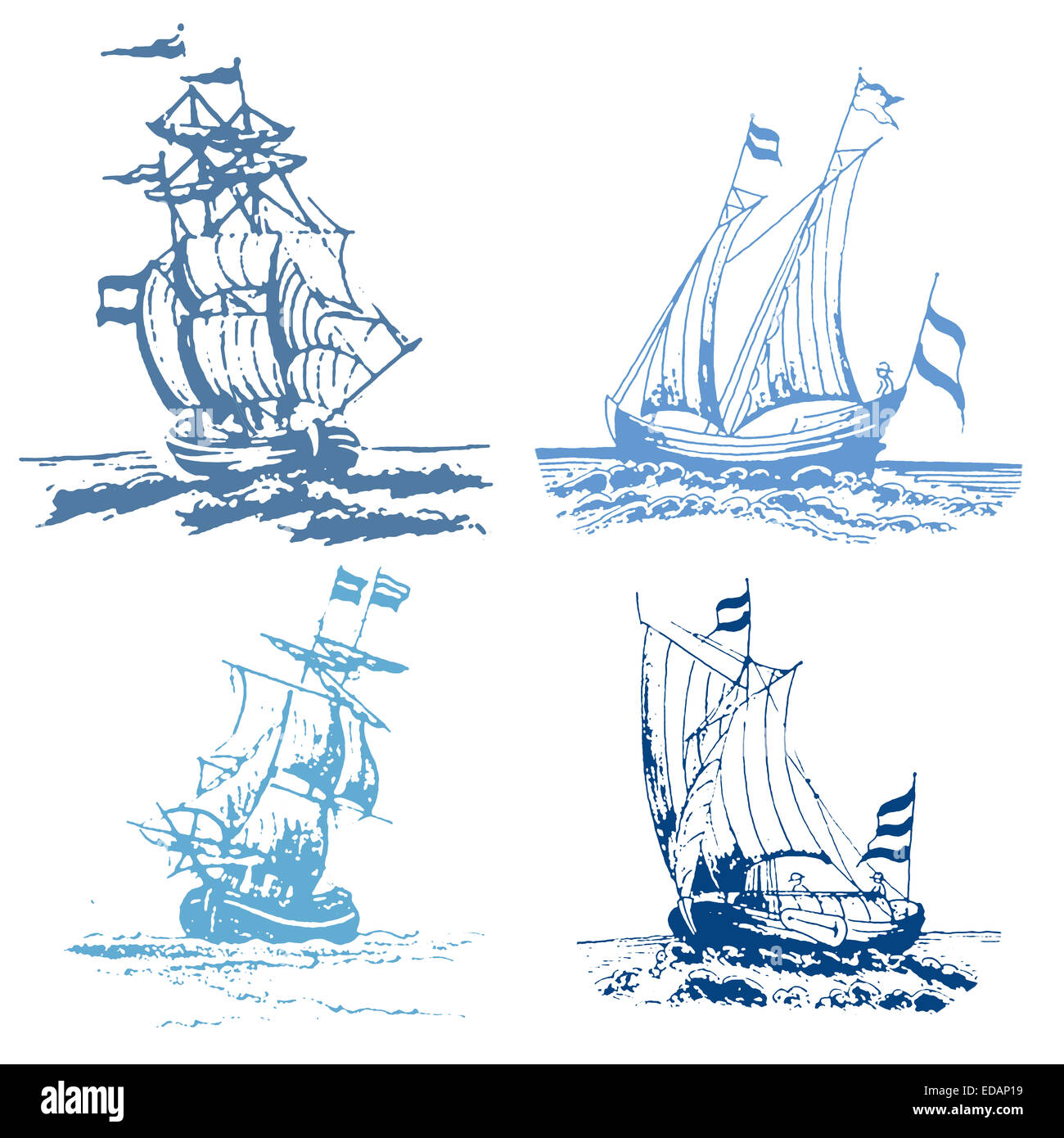 Set of four blue stamp ships - Stock Image