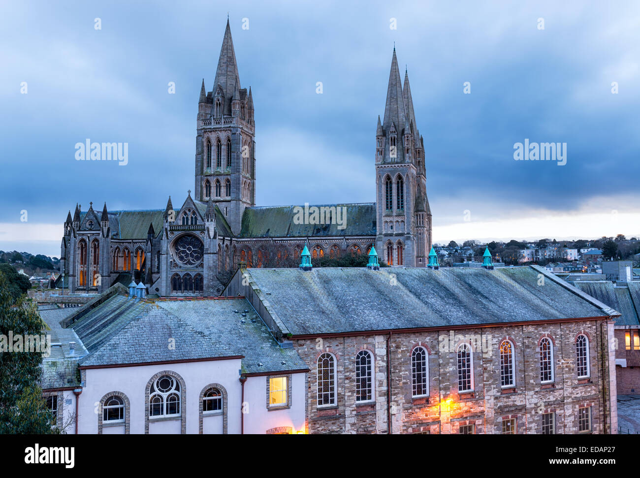 Looking out over the rooftops to Truro Cathedral - Stock Image