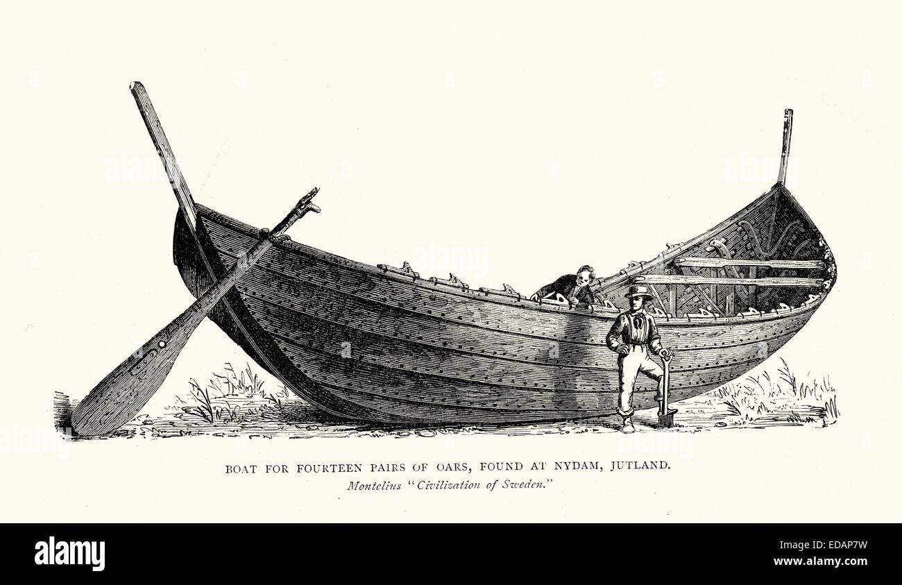 Viking longboat for fourteen pairs of oars, found at Nydam, Jutland - Stock Image