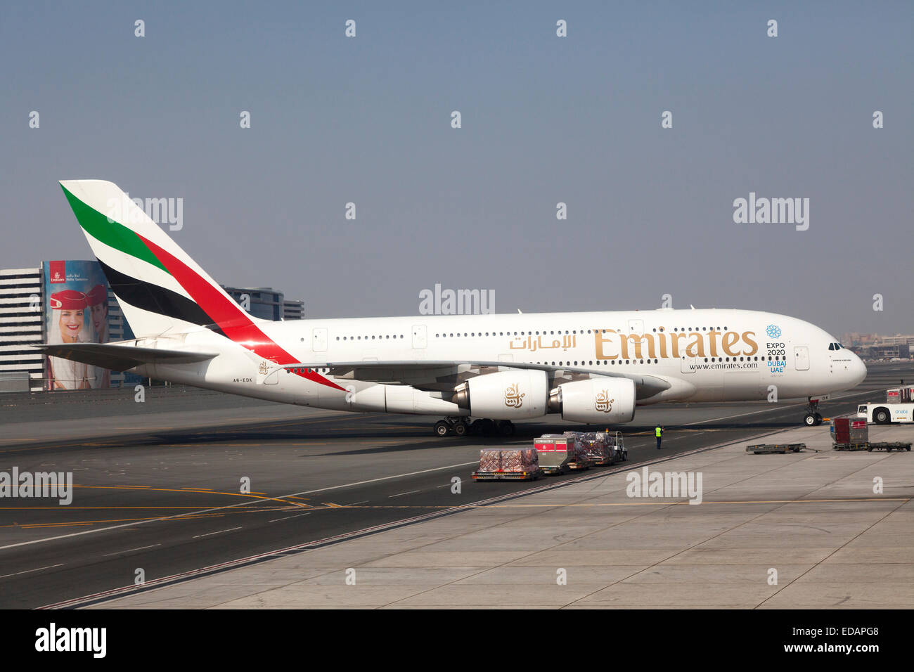 Aeroplane of Emirates airline at Schiphol airport in Holland - Stock Image