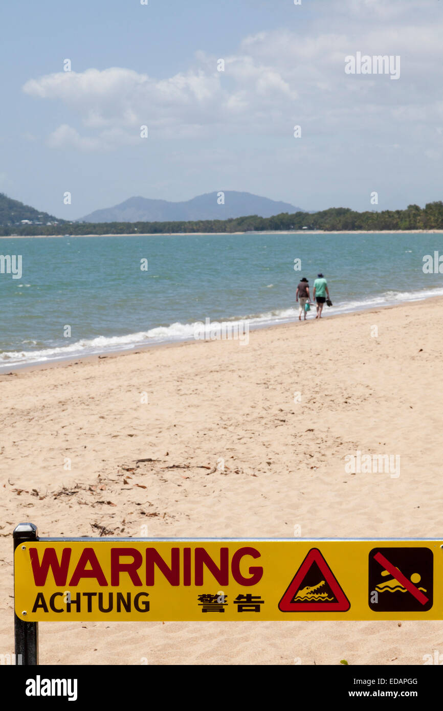 Warning sign on the beach at Mission Beach Australia - Stock Image