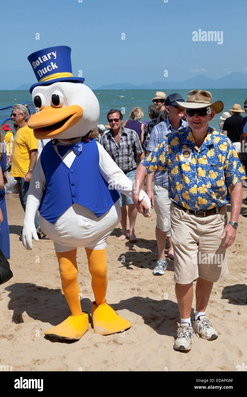 Rotary club is promoting for the duck race in Palm Cove Australia Stock Photo