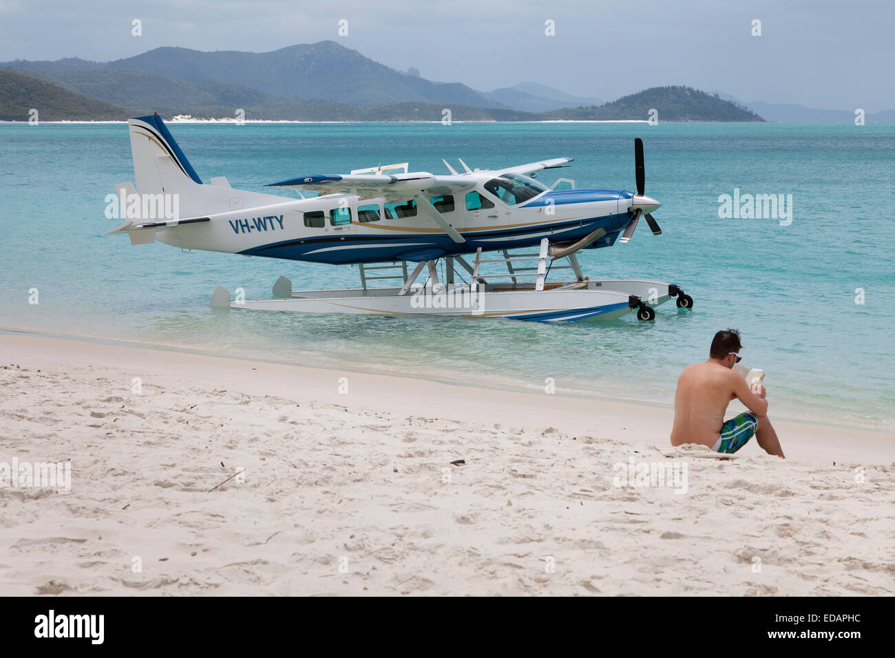 Seaplane at Whitehaven Beach,Queensland, Australia - Stock Image