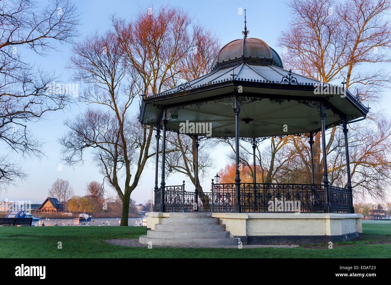 Dawn at the bandstand on Christchurch quay in Dorset - Stock Image
