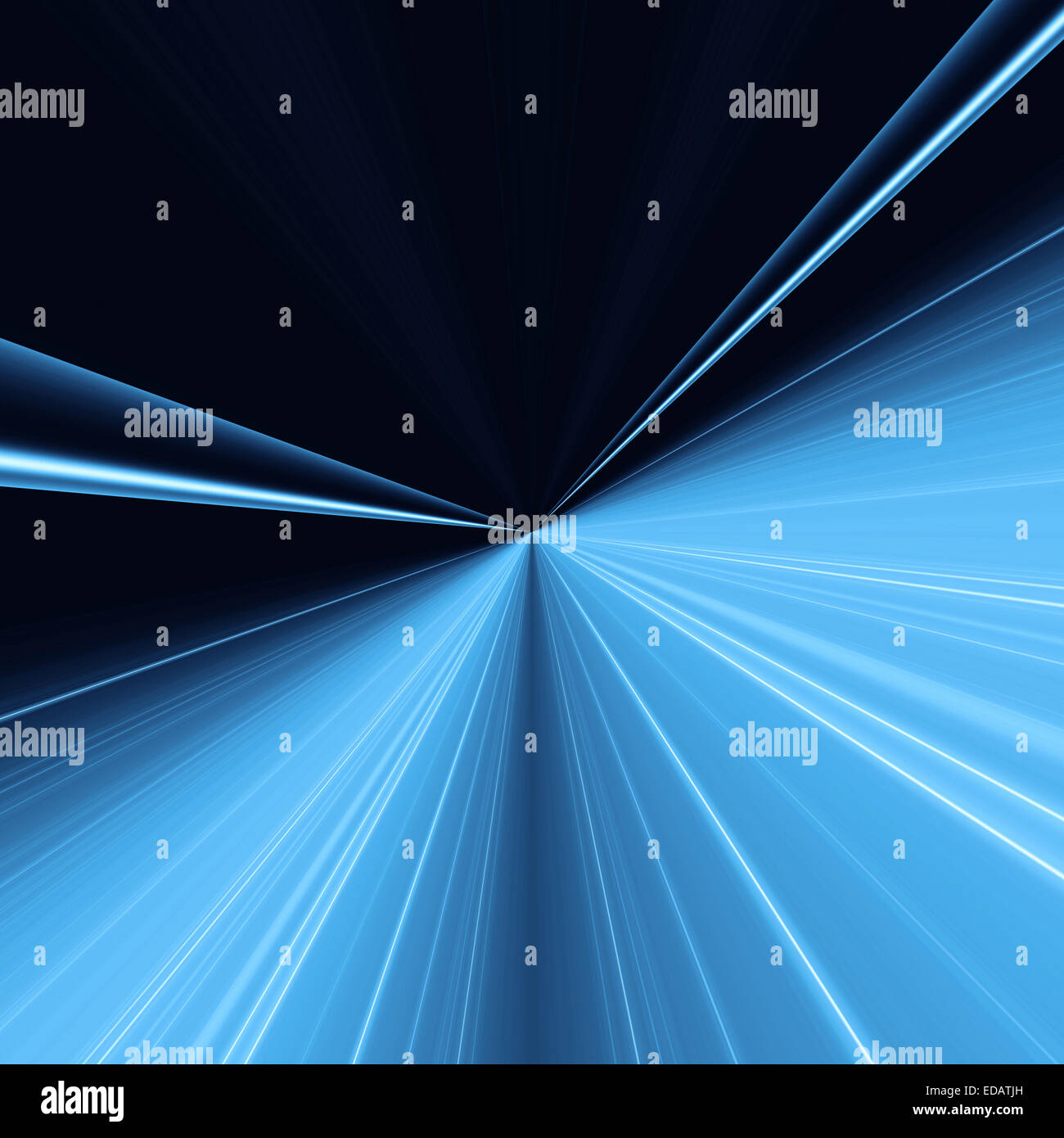 Abstract blue background with light lines concentric going into a point - Stock Image