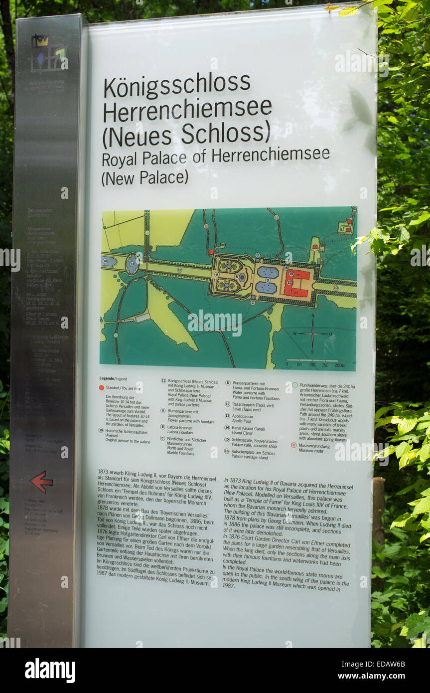 Royal Palace of Herrenchiemsee New Palace visitor information sign, Bavaria, Germany. - Stock Image