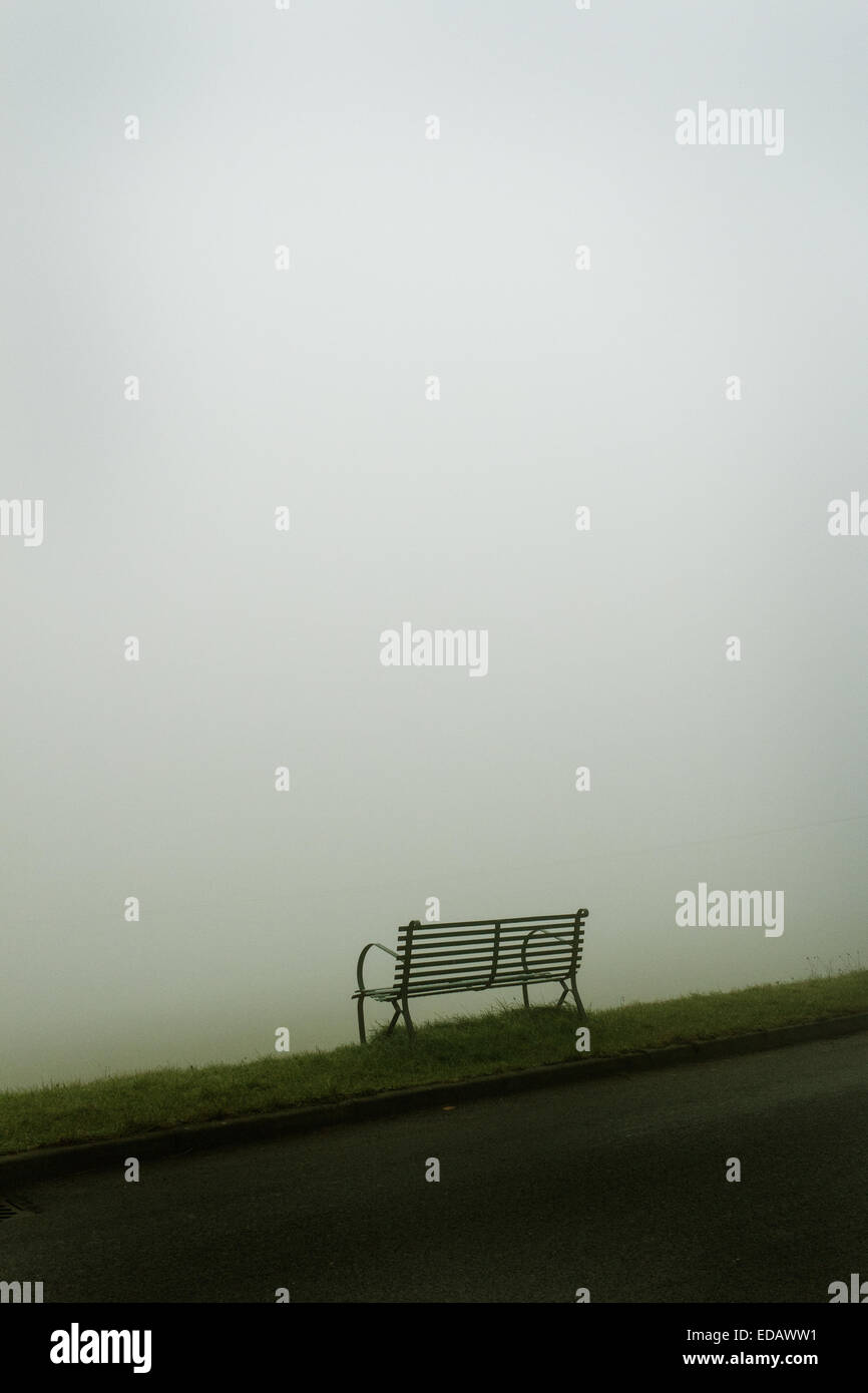 Scenic atmospheric conceptual image that depicts a bench on a winters misty day. Monochromatic ethereal scene - Stock Image