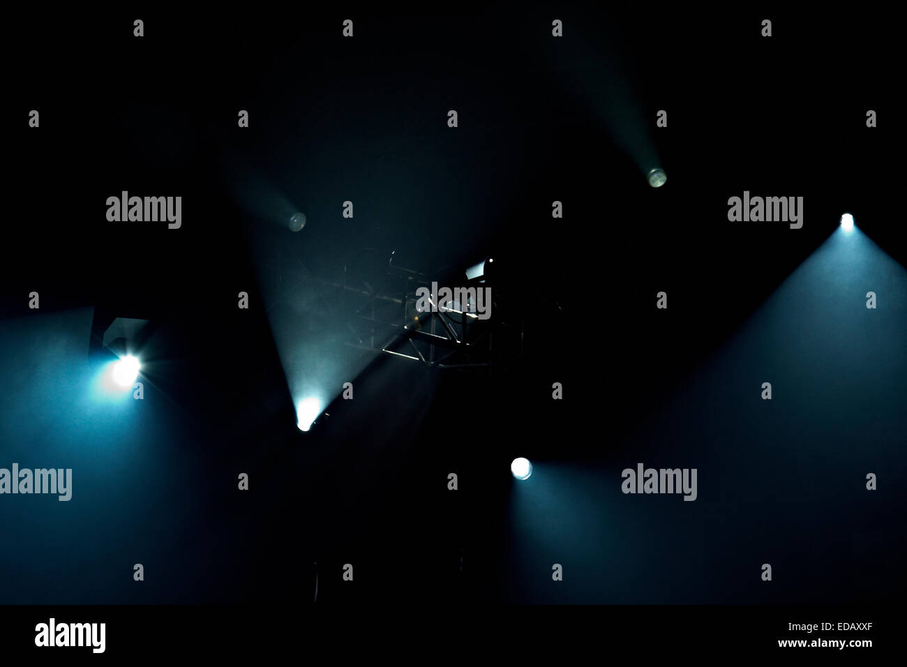 Few stage lights on a black background - Stock Image