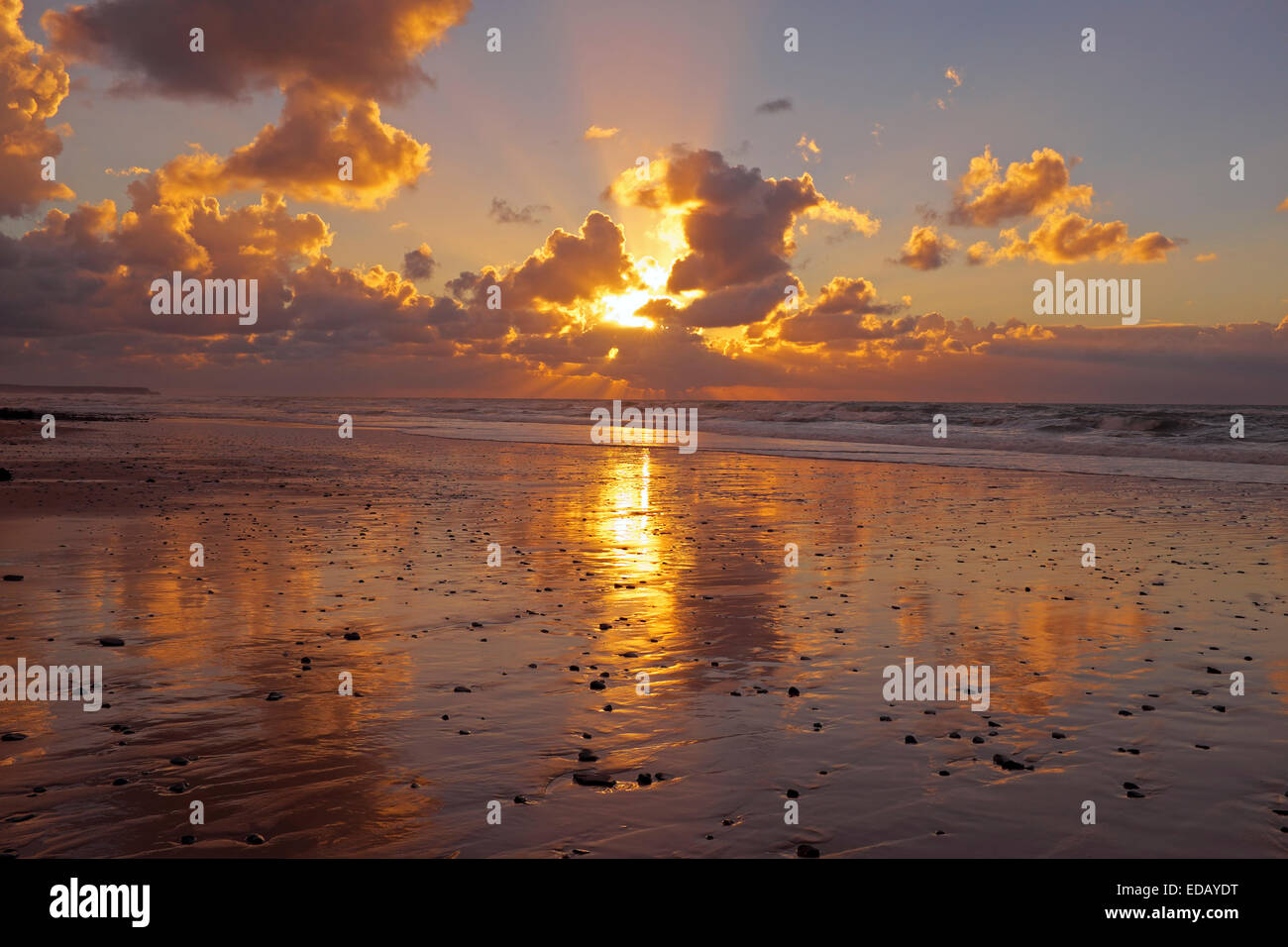 Sunset at the North Sea coast in the Netherlands - Stock Image