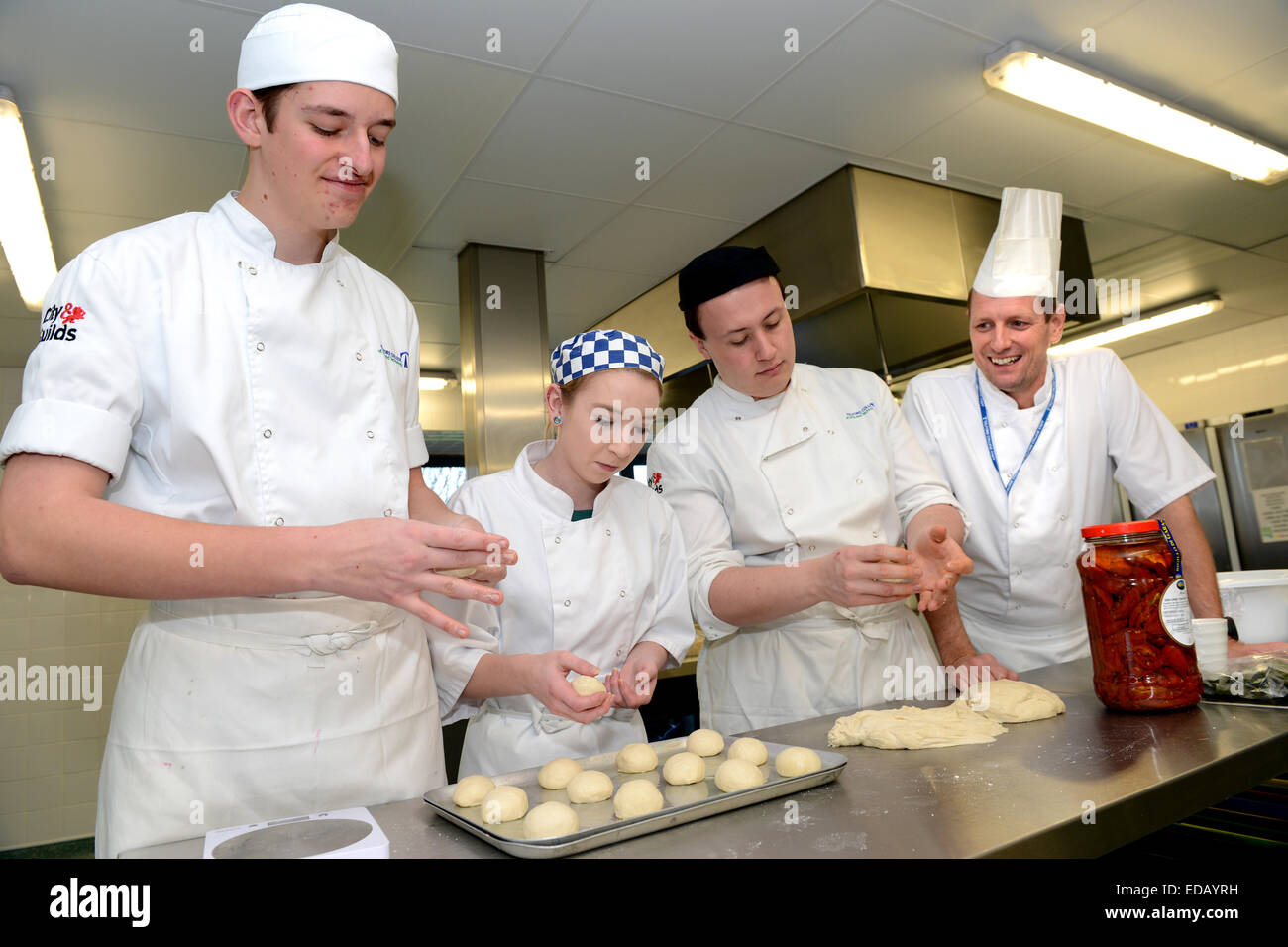 Catering students and tutor on City & Guilds course at Telford College of Arts and Technology Uk - Stock Image