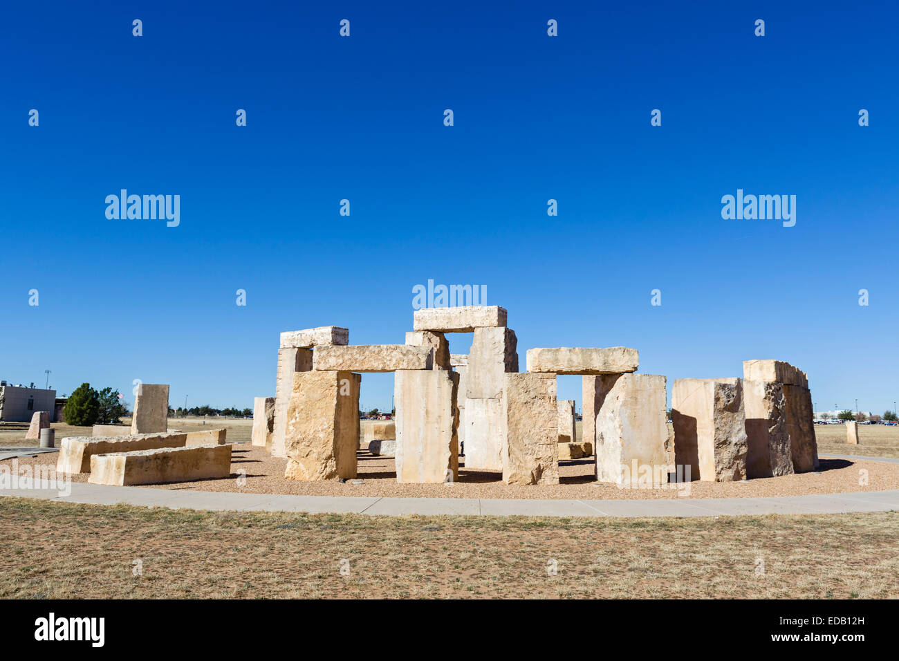 A replica of Stonehenge on the campus of the University of Texas of the Permian Basin, Odessa, Texas, USA - Stock Image