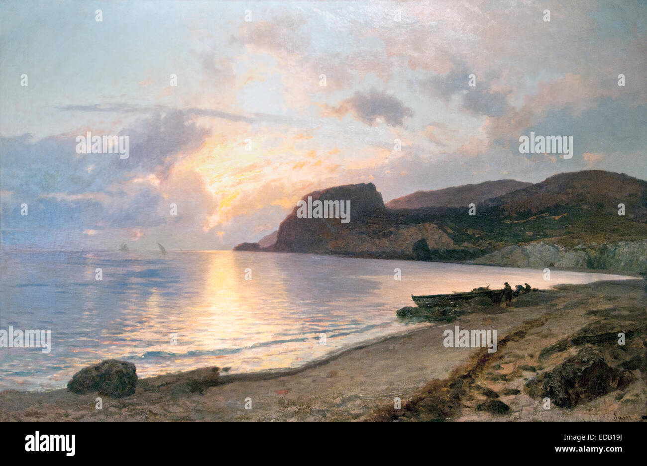 Seascape Sunset 1892 Pietro Sassi 1834-1905 Italy Italian - Stock Image