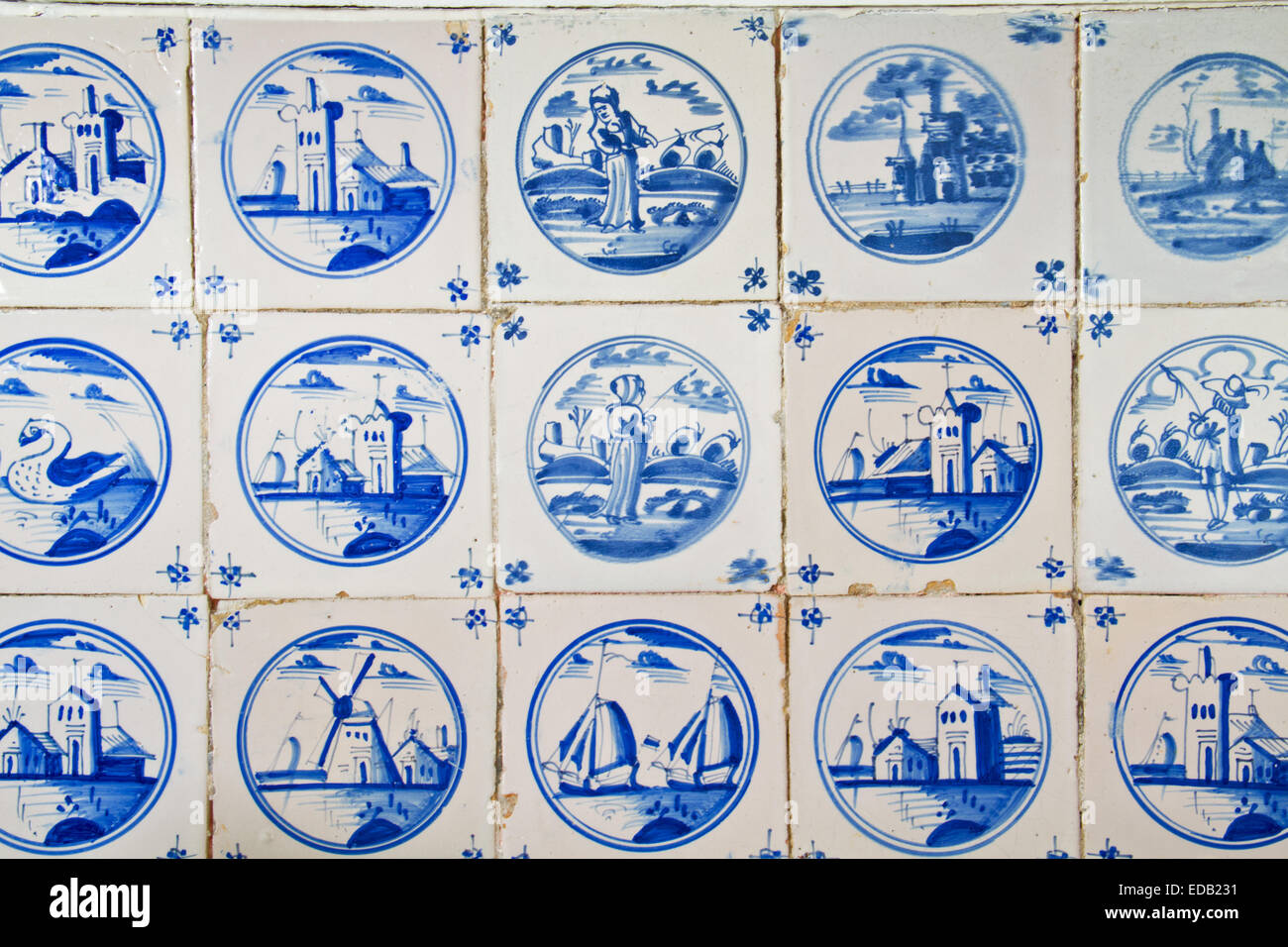 Antique dutch tiles on the kitchen wall of an old building Stock ...