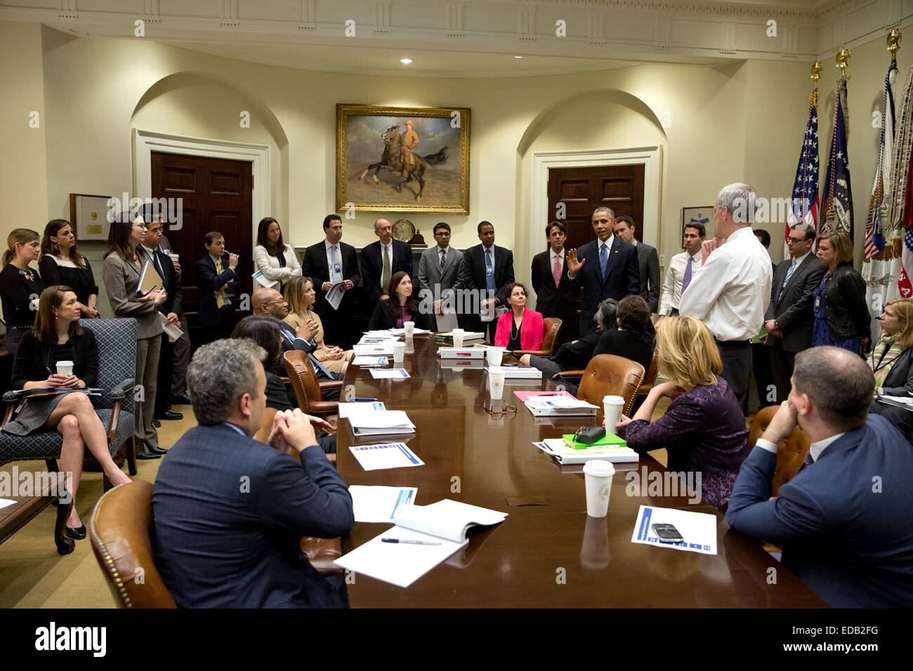 US President Barack Obama speaks White House staff in the Roosevelt Room the day after the democrats lost in the Stock Photo
