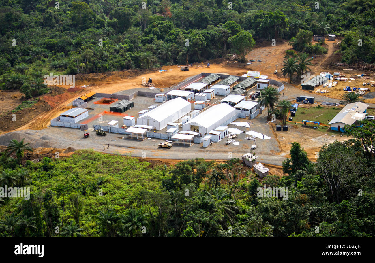 Aerial view of the Gbediah Ebola Treatment Unit built by U.S. Forces as part of Operation United Assistance in an - Stock Image
