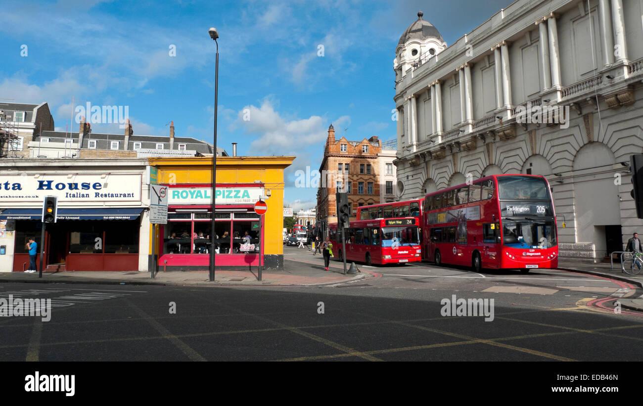 Traffic, buses near Pentonville Road at the junction of Gray's Inn Road and King's Cross Bridge, London - Stock Image
